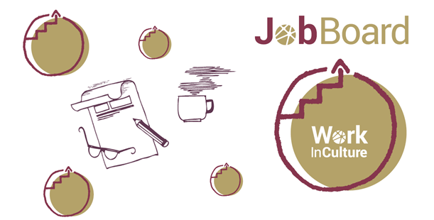 circles with arrows pointing at JobBoard logo, paper, pencil, and coffee cup